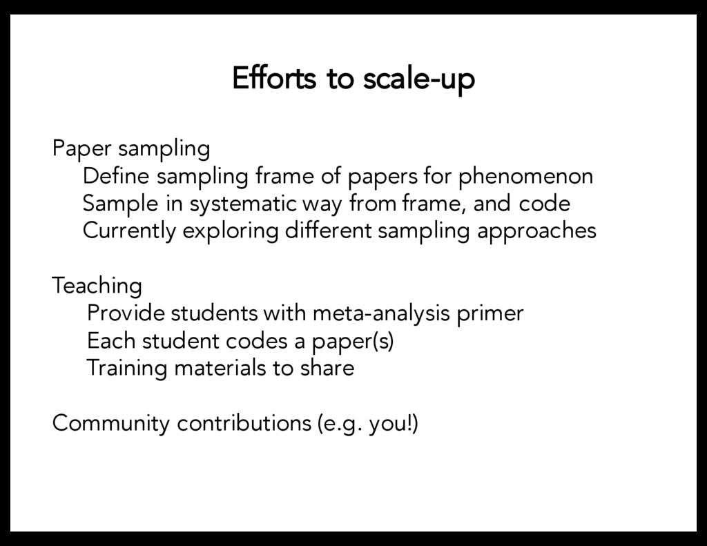 Efforts to scale-up Paper sampling Define sampl...