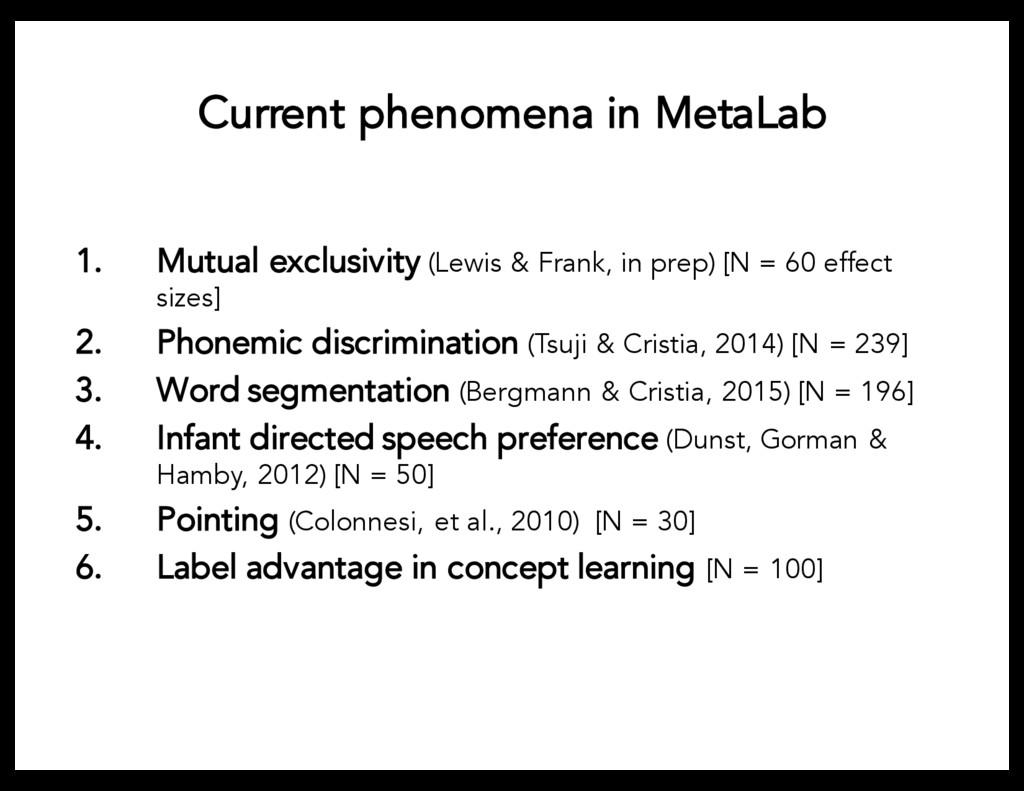 Current phenomena in MetaLab 1. Mutual exclusiv...