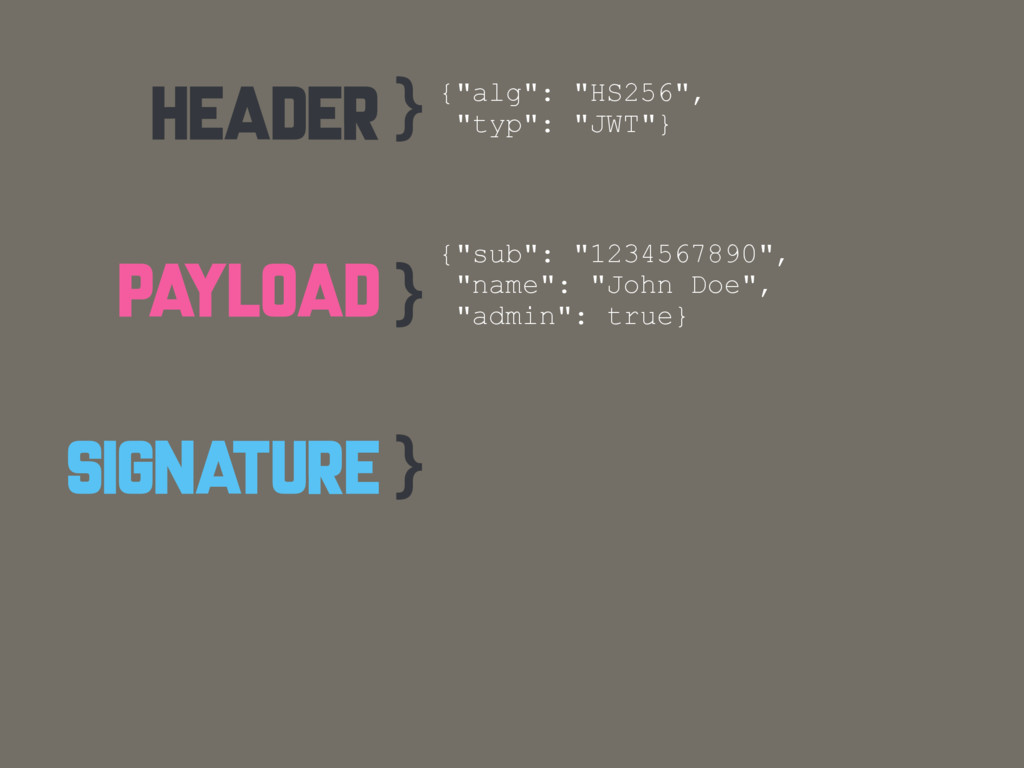 "HEADER PAYLOAD SIGNATURE } } } {""alg"": ""HS256"",..."
