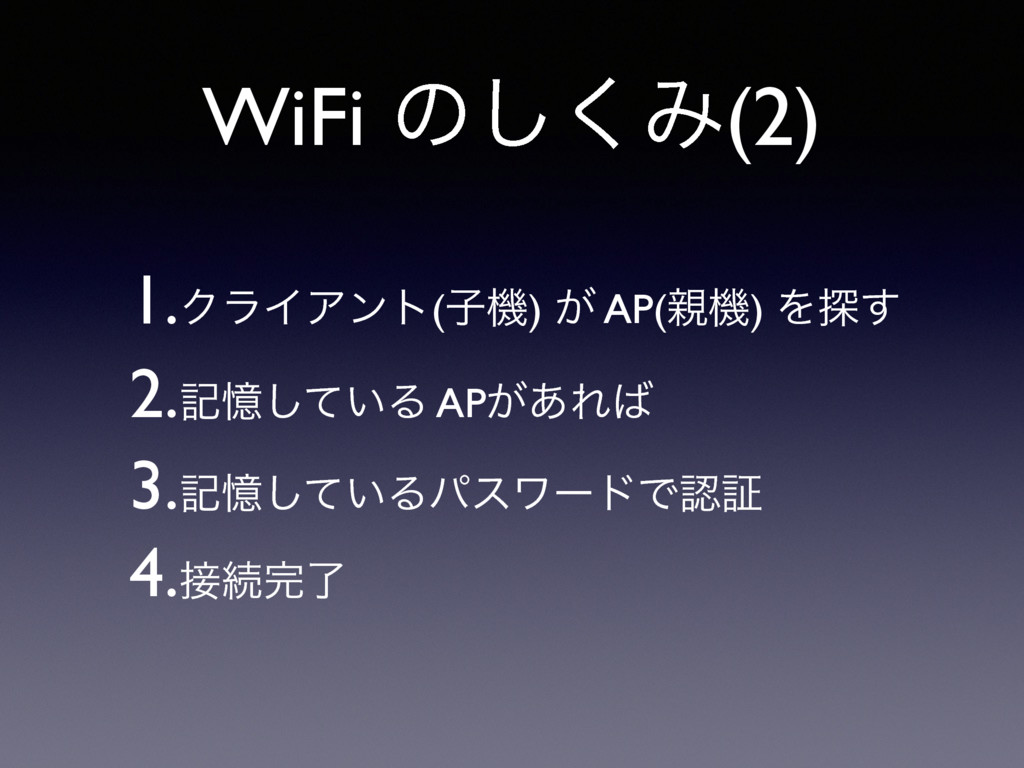 WiFi ͷ͘͠Έ(2) 1.ΫϥΠΞϯτ(ࢠػ) ͕ AP(ػ) Λ୳͢ 2.هԱ͍ͯ͠Δ...