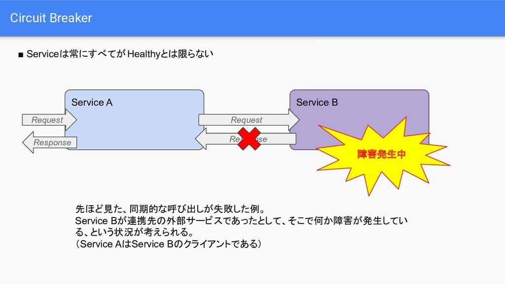 Circuit Breaker ■ Serviceは常にすべてがHealthyとは限らない S...