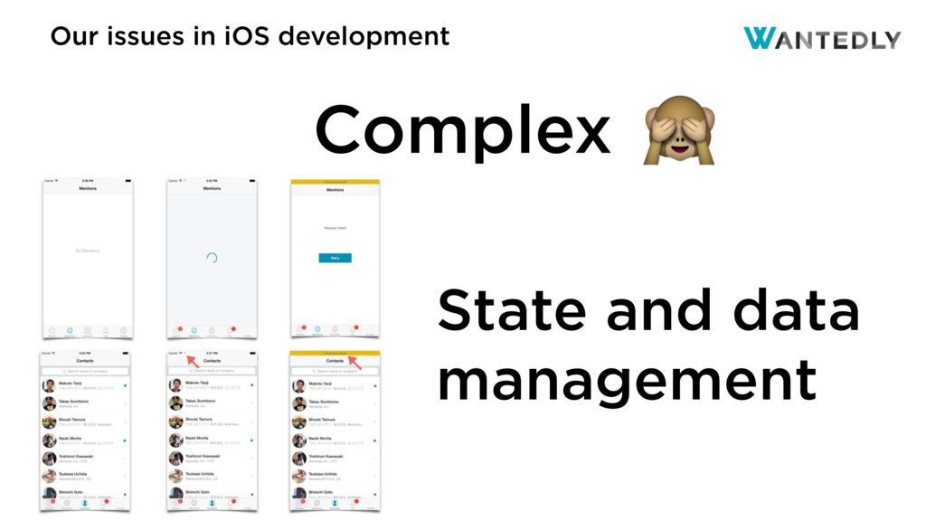 Our issues in iOS development State and data ma...