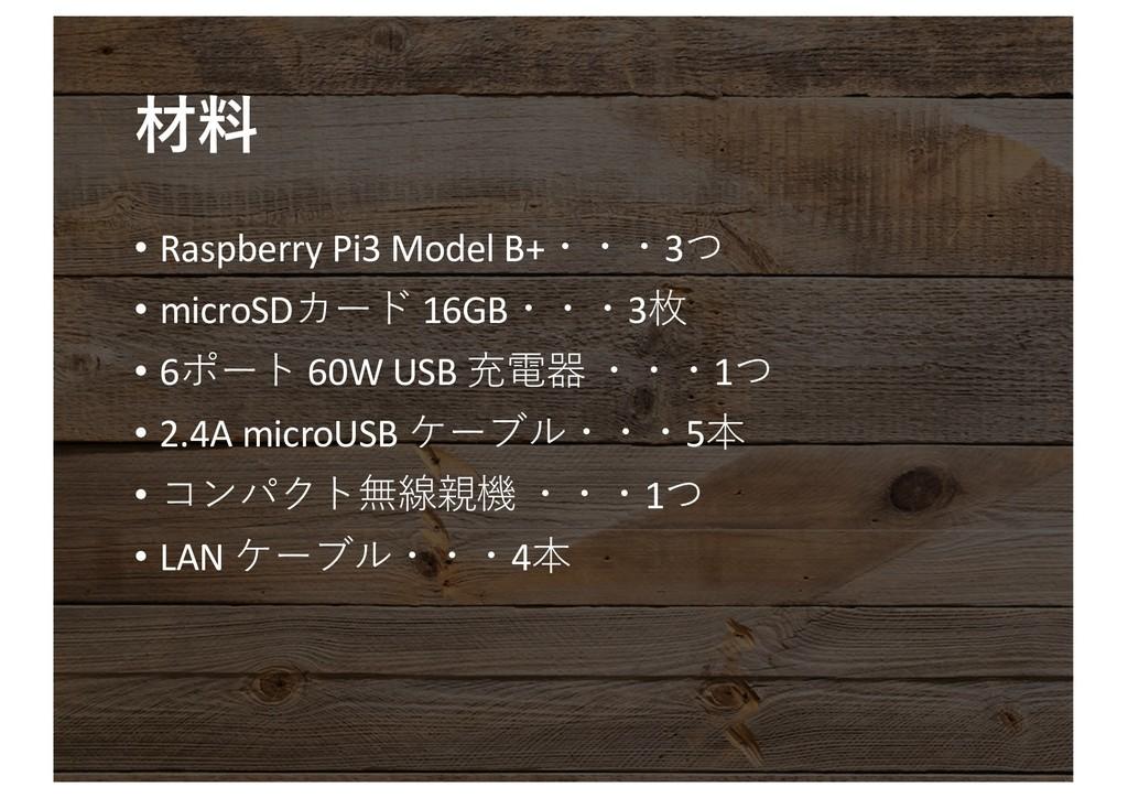 • Raspberry Pi3 Model B+3 • microSD 16...