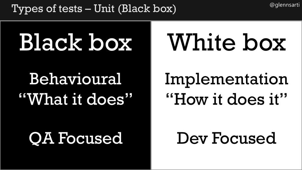 @glennsarti Types of tests – Unit (Black box) B...