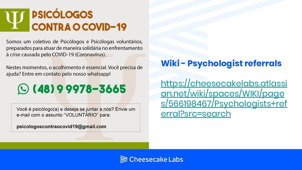 Wiki - Psychologist referrals https://cheesecak...