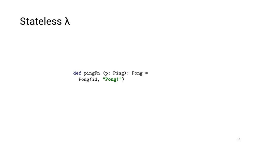 """32 def pingFn (p: Ping): Pong = Pong(id, """"Pong!..."""