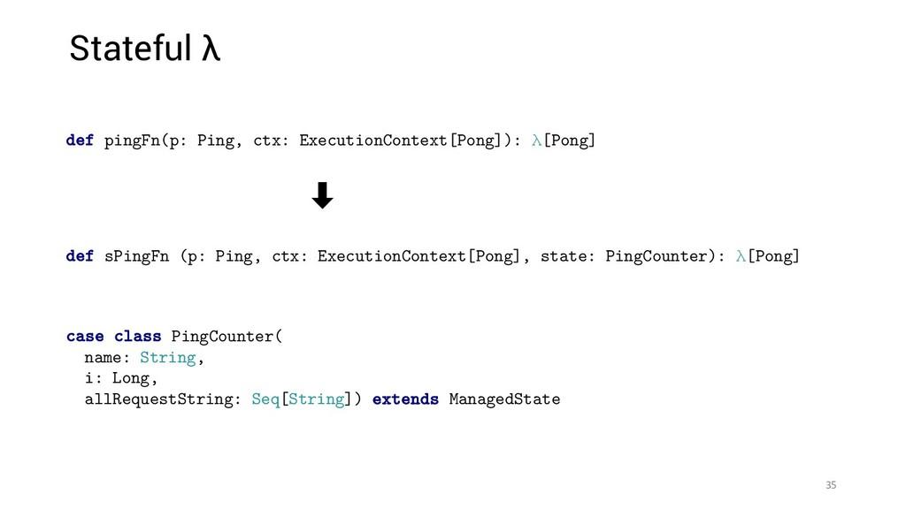 Stateful λ 35 ‑ def sPingFn (p: Ping, ctx: Exec...