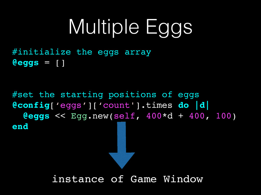 Multiple Eggs #initialize the eggs array! @eggs...