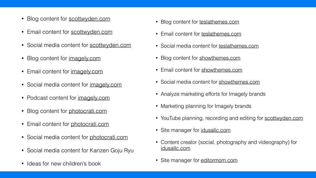 • Blog content for scottwyden.com • Email conte...
