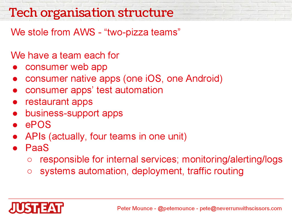 Tech organisation structure We stole from AWS -...
