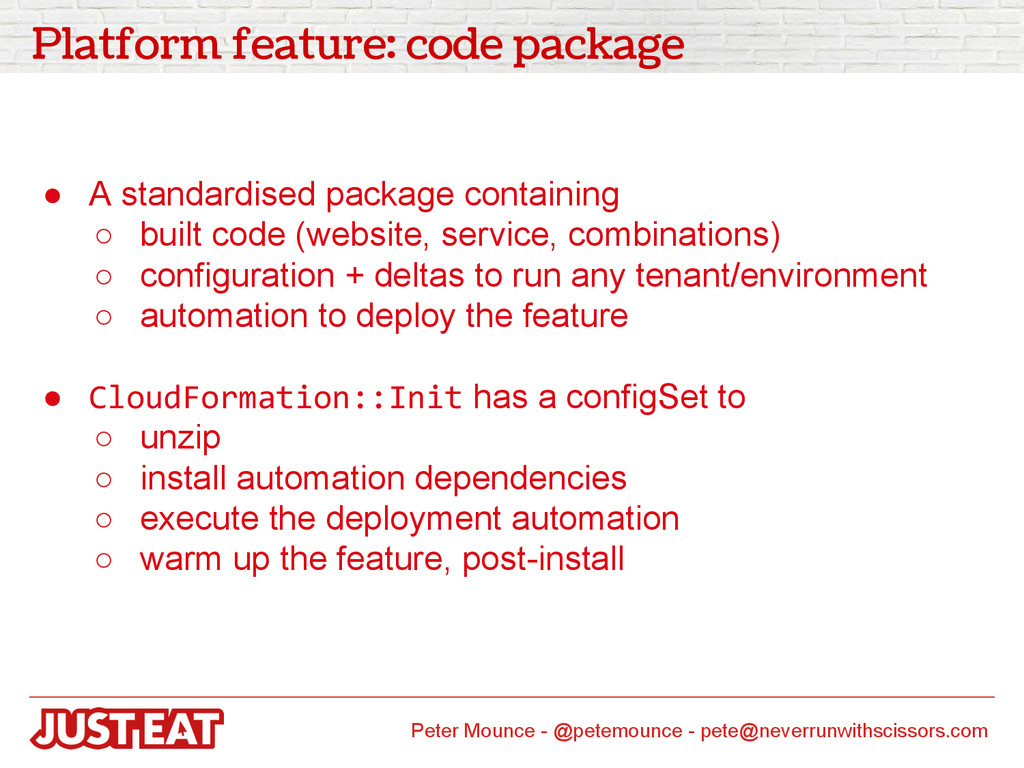 Platform feature: code package ● A standardised...