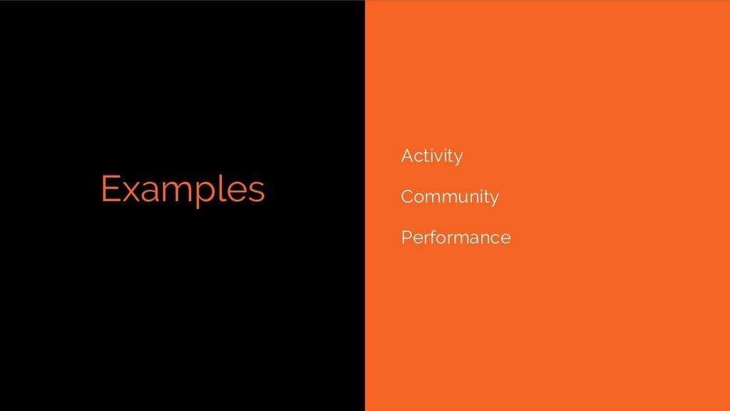 Examples Activity Community Performance