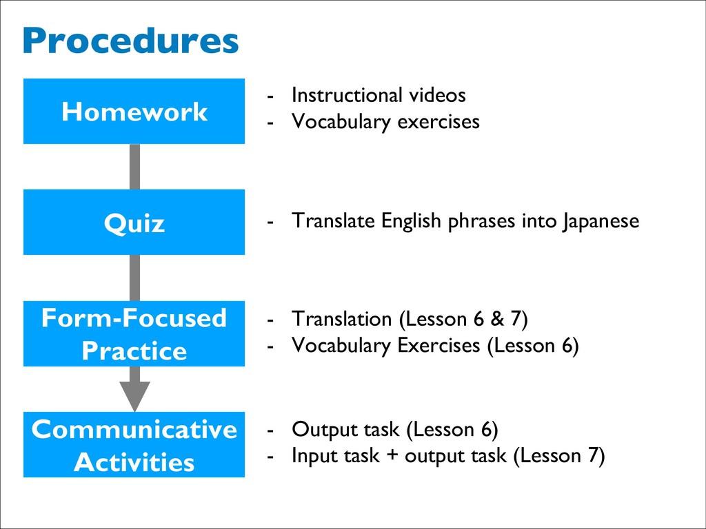 Procedures Homework Quiz Form-Focused Practice ...