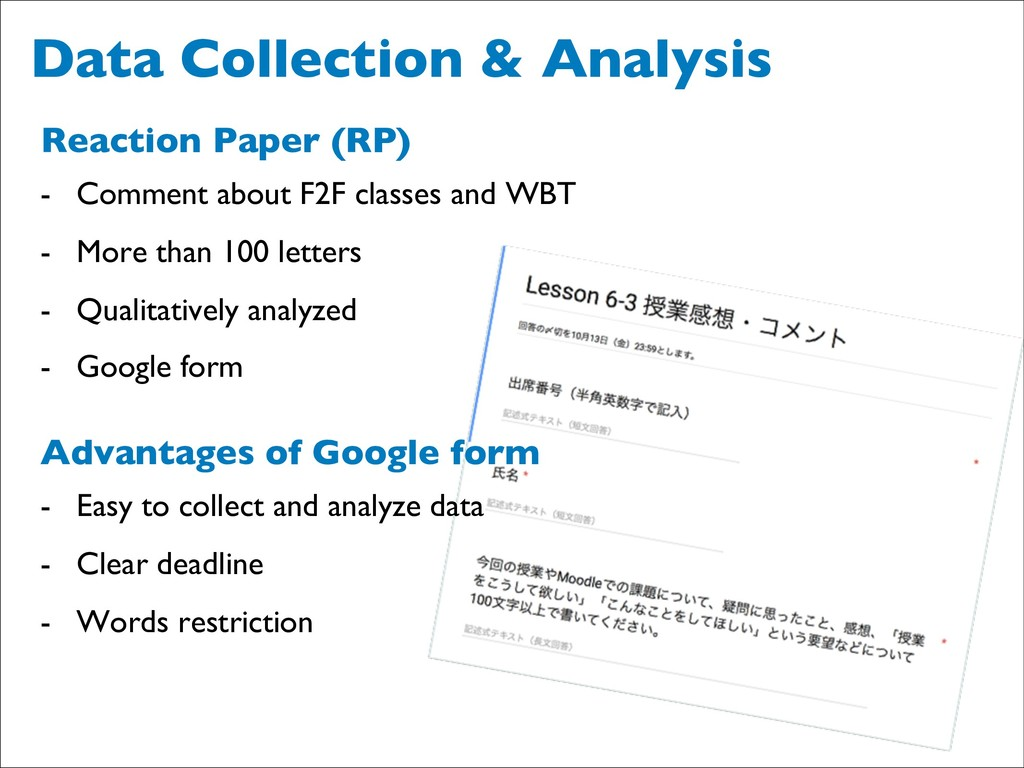 Data Collection & Analysis Reaction Paper (RP) ...