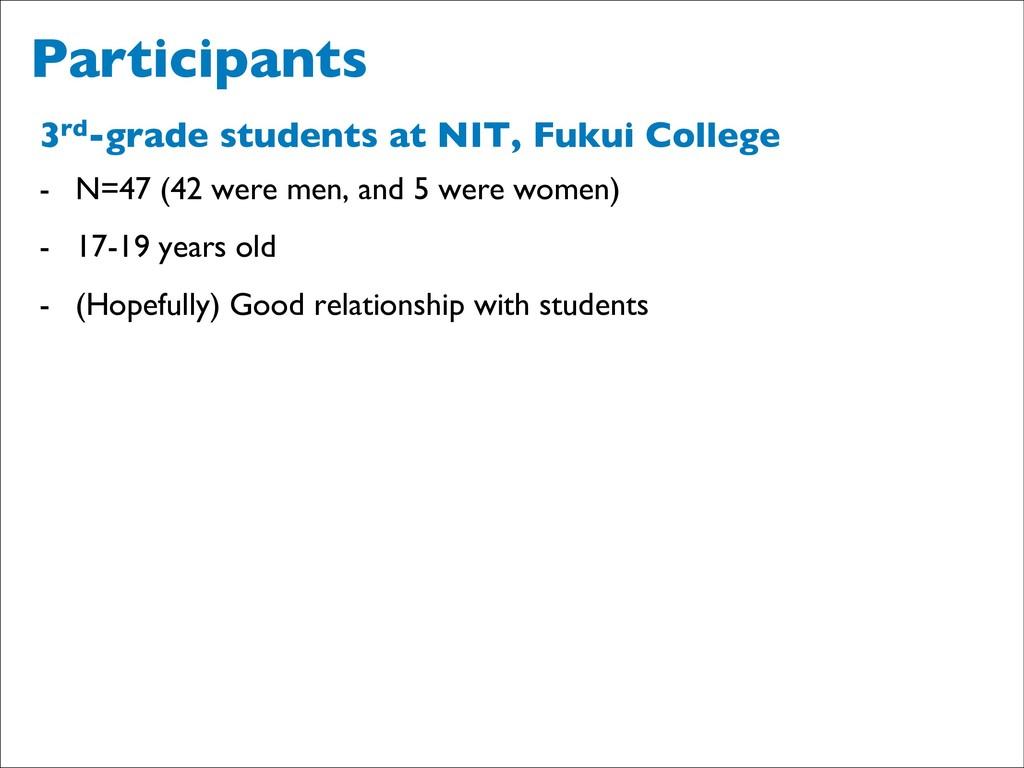 Participants 3rd-grade students at NIT, Fukui C...