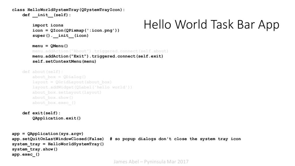 James Abel – Pyninsula Mar 2017 Hello World Tas...
