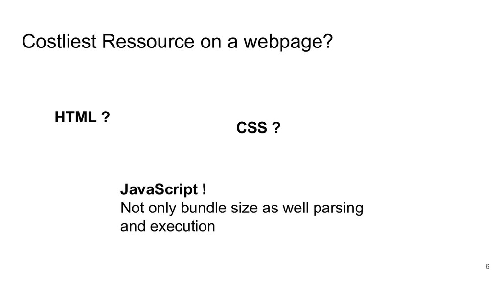Costliest Ressource on a webpage? 6 HTML ? CSS ...
