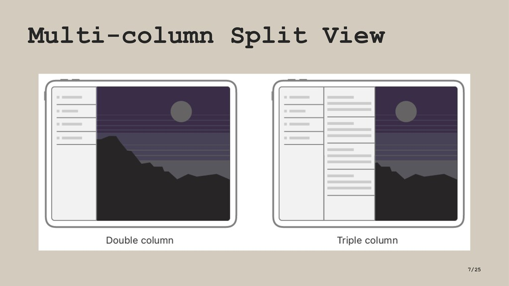 Multi-column Split View 7/25