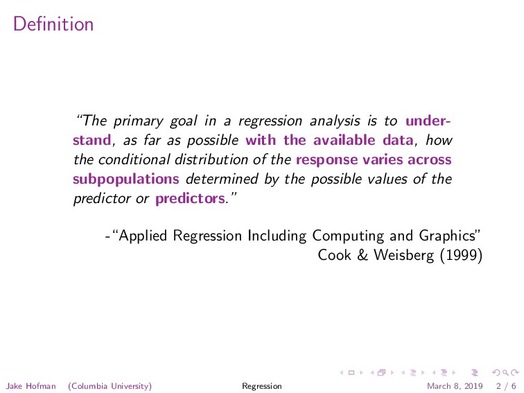 "Definition ""The primary goal in a regression ana..."