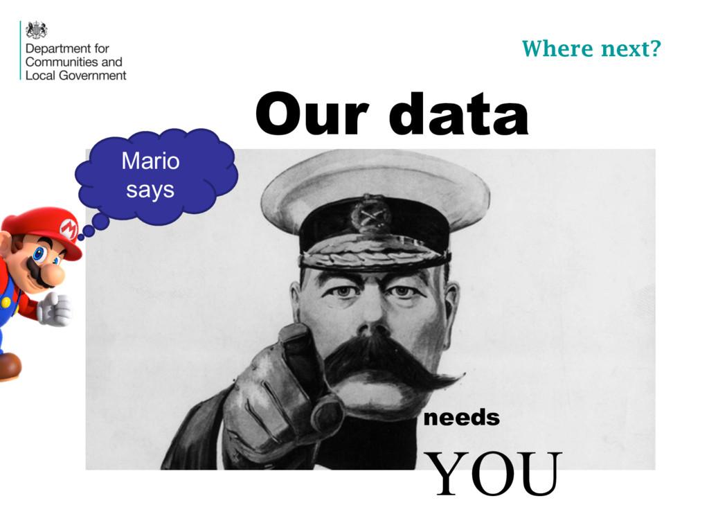 needs YOU Our data Where next? Mario  says