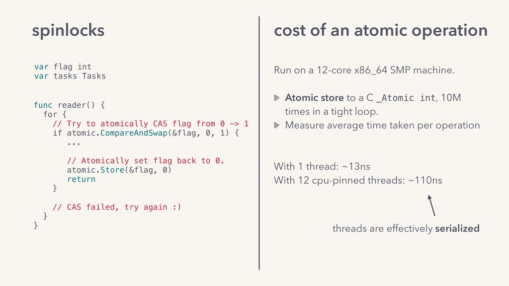 cost of an atomic operation Run on a 12-core x8...