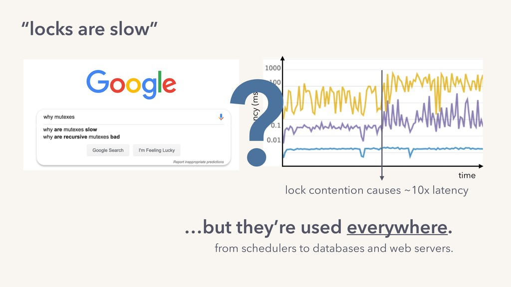 """""""locks are slow"""" …but they're used everywhere. ..."""