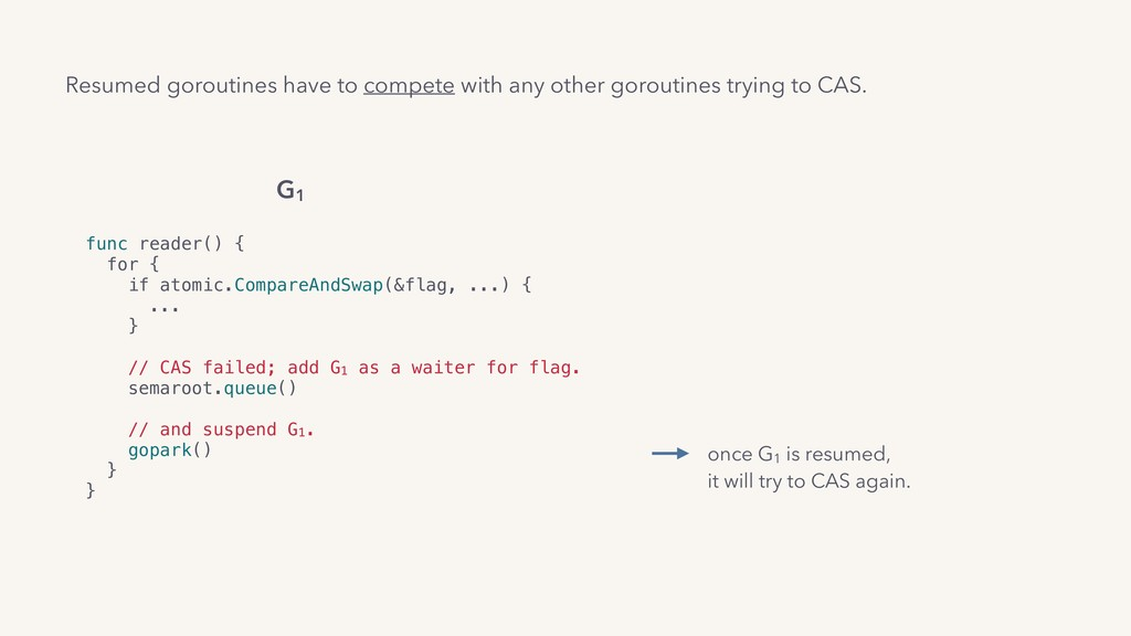 func reader() { for { if atomic.CompareAndSwap(...