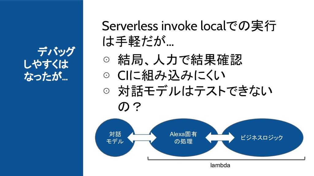 デバッグ しやすくは なったが… Serverless invoke localでの実行 は手...