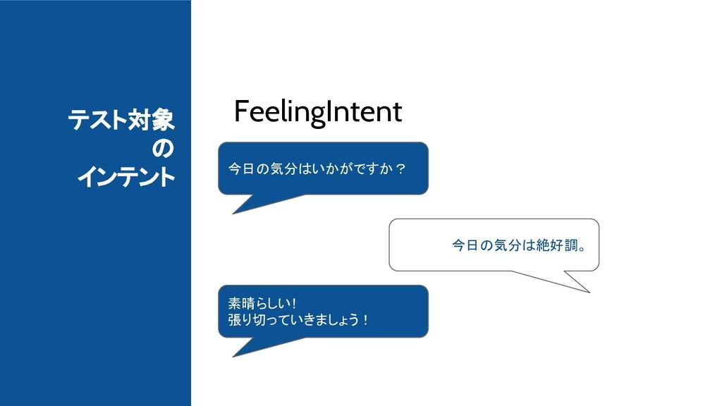 テスト対象 の インテント FeelingIntent 今日の気分はいかがですか? 今日の気分...