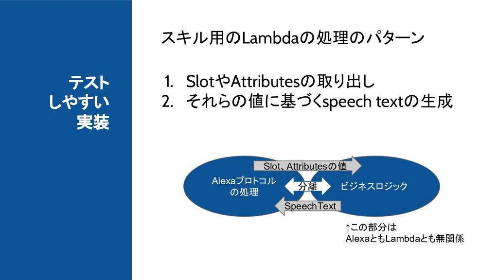 テスト しやすい 実装 スキル用のLambdaの処理のパターン 1. SlotやAttribu...