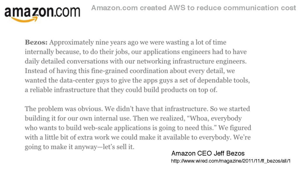 Amazon.com created AWS to reduce communication ...