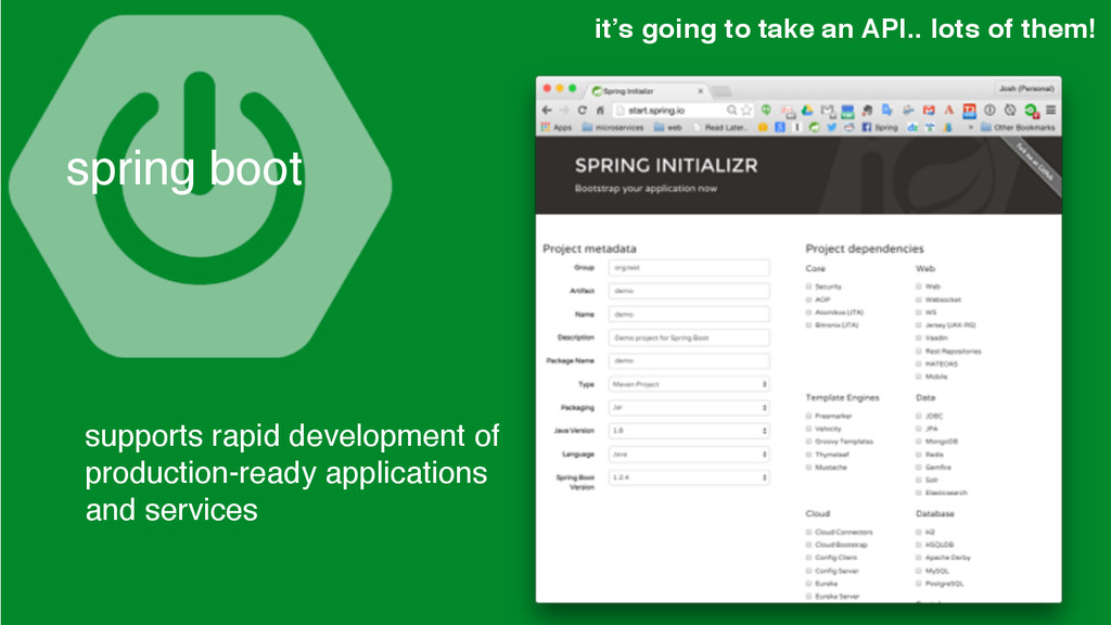 spring boot it's going to take an API.. lots of...