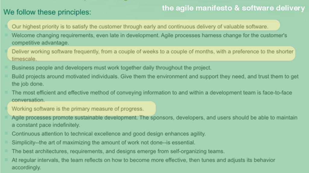 the agile manifesto & software delivery