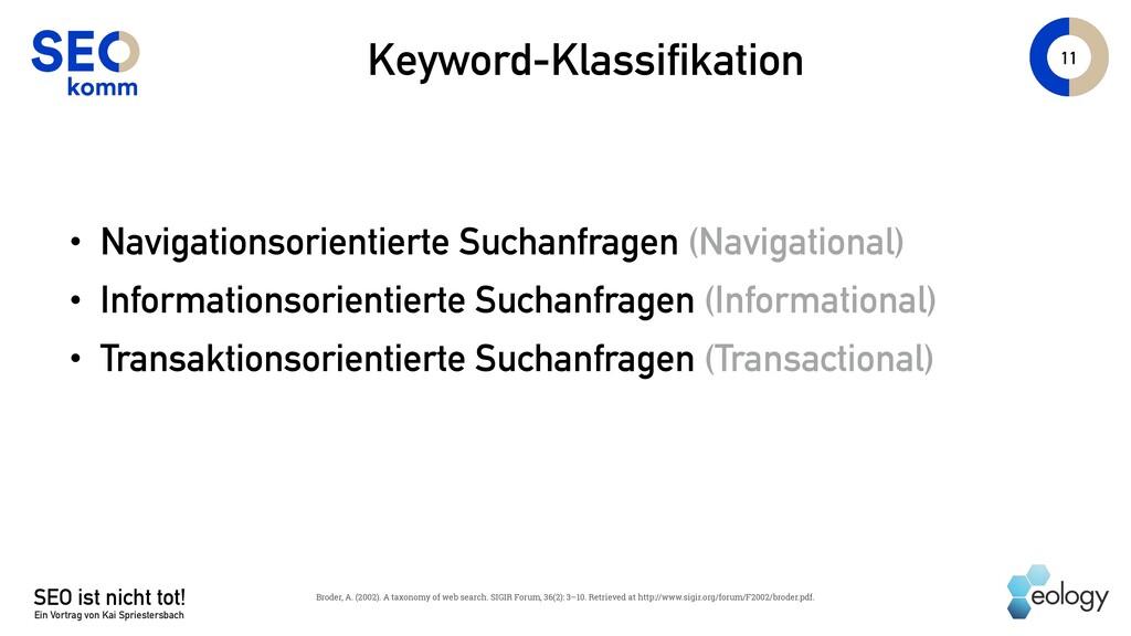 11 Keyword-Klassifikation • Navigationsorientie...