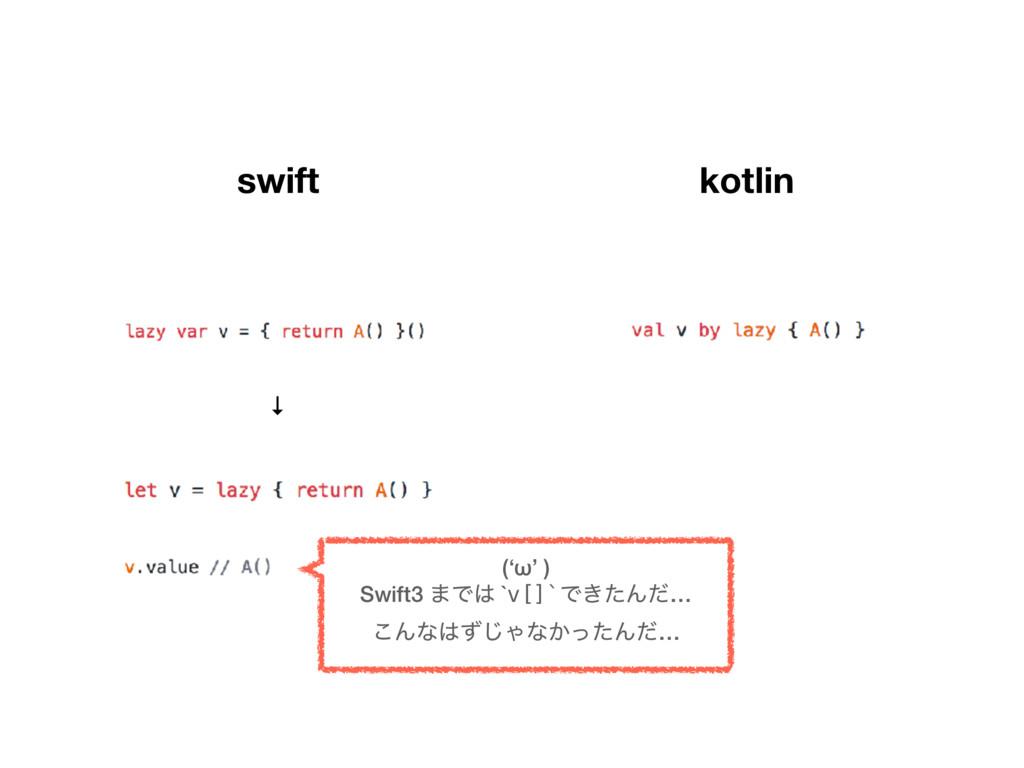 swift kotlin ↓ ('ω' ) Swift3 ·Ͱ `v[]`Ͱ͖ͨΜͩ… ...