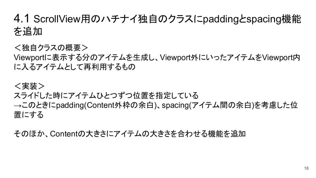 4.1 ScrollView用のハチナイ独自のクラスにpaddingとspacing機能 を追...