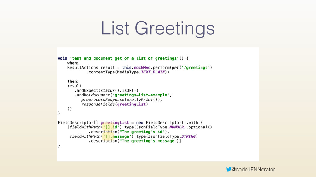 @codeJENNerator List Greetings void 'test and d...