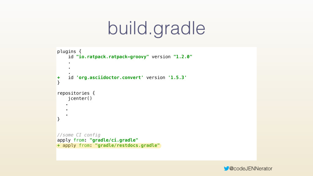 "@codeJENNerator build.gradle plugins { id ""io...."