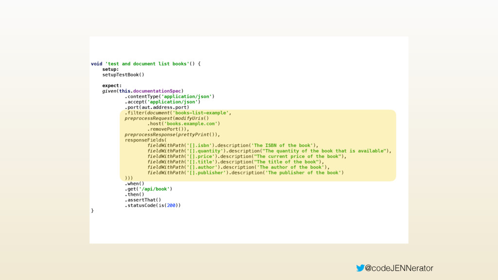 @codeJENNerator void 'test and document list bo...