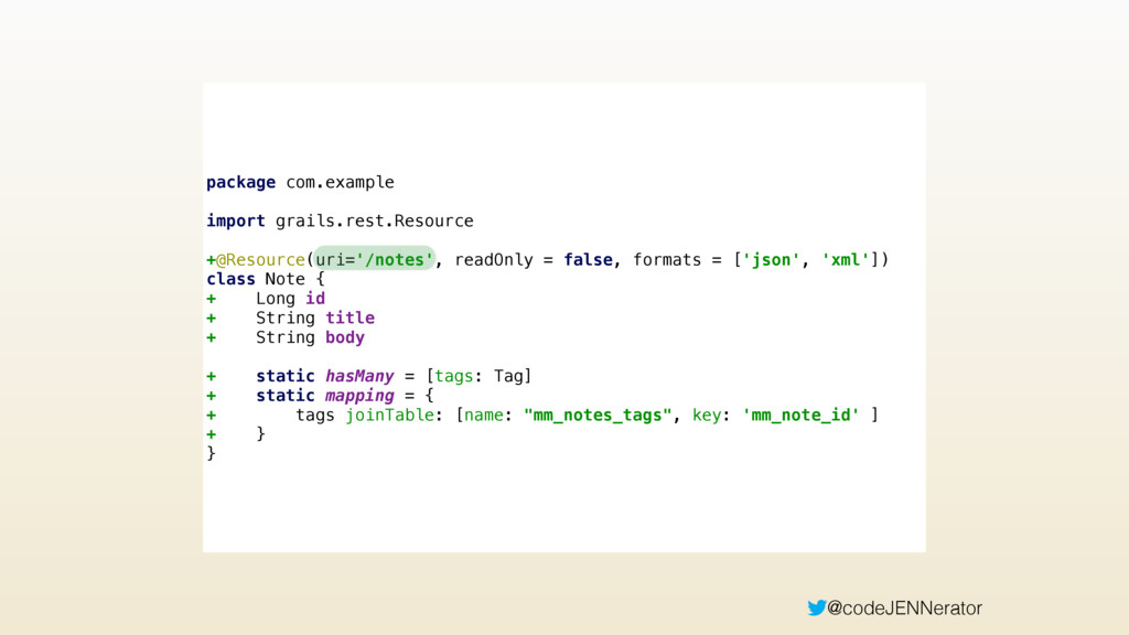@codeJENNerator package com.example  import g...