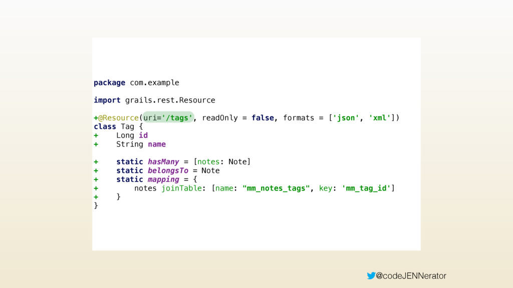 @codeJENNerator package com.example import grai...