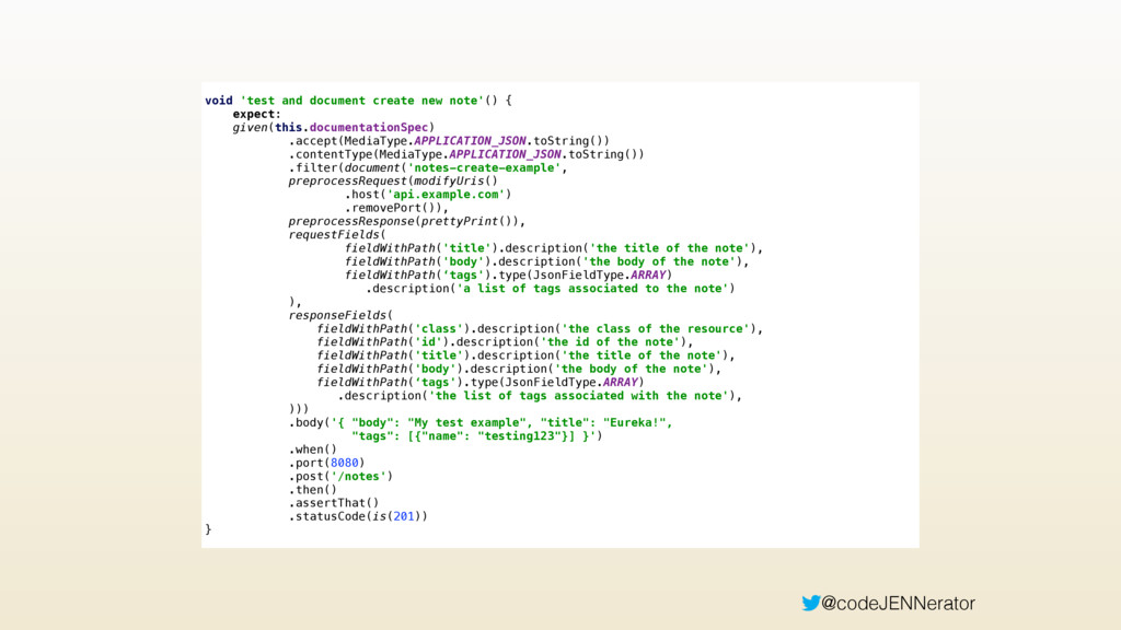 @codeJENNerator void 'test and document create ...