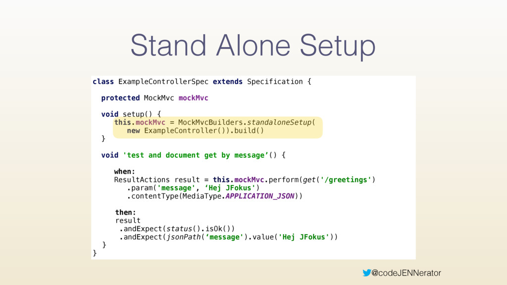 @codeJENNerator Stand Alone Setup class Example...
