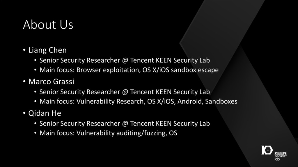 About Us • Liang Chen • Senior Security Researc...