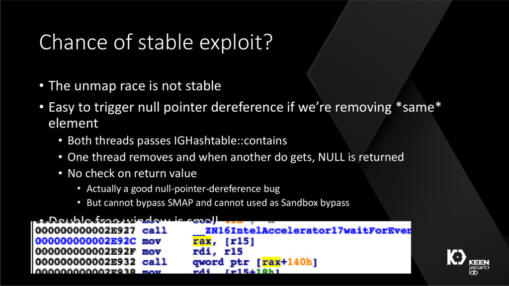 Chance of stable exploit? • The unmap race is n...
