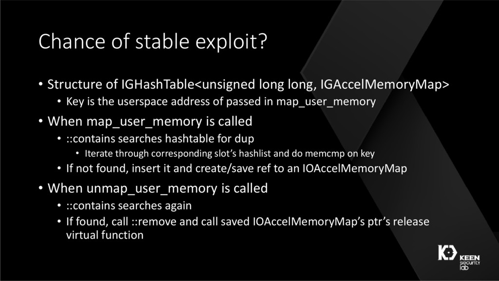 Chance of stable exploit? • Structure of IGHash...