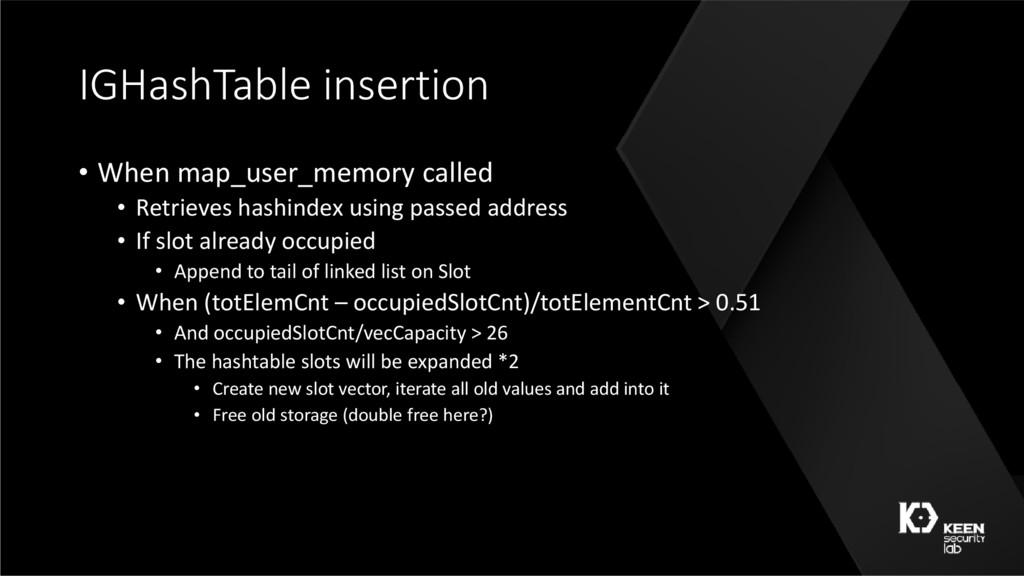 IGHashTable insertion • When map_user_memory ca...
