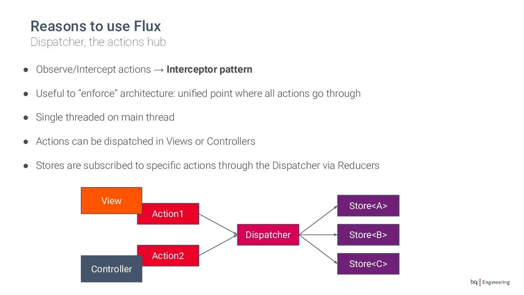 Reasons to use Flux Dispatcher, the actions hub...
