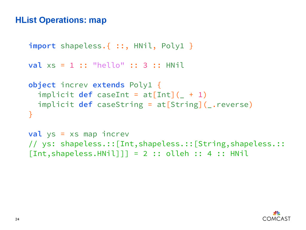 HList Operations: map 24 import shapeless.{ ::,...