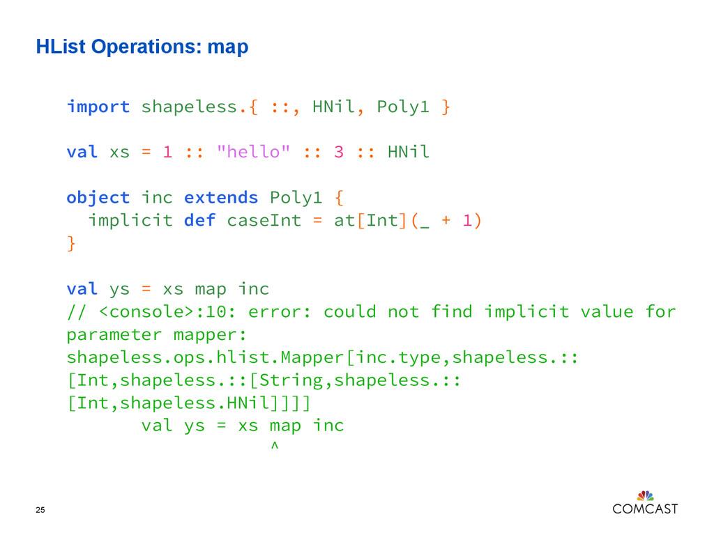 HList Operations: map 25 import shapeless.{ ::,...